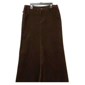 Ralph Lauren Woman's Brown Corduroy Maxi Skirt